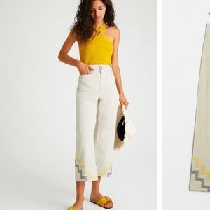 Anthropologie NWT Haley Embroidered WideLeg Size 2